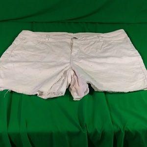 Lane Bryant white raw edge distressed shorts sz 20
